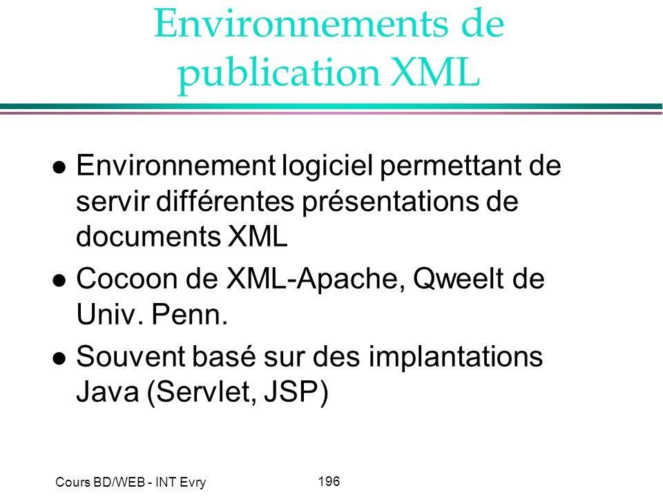 196 Cours BD/WEB - INT Evry Environnements de publication XML l Environnement logiciel permettant de servir différentes présentations de documents XML