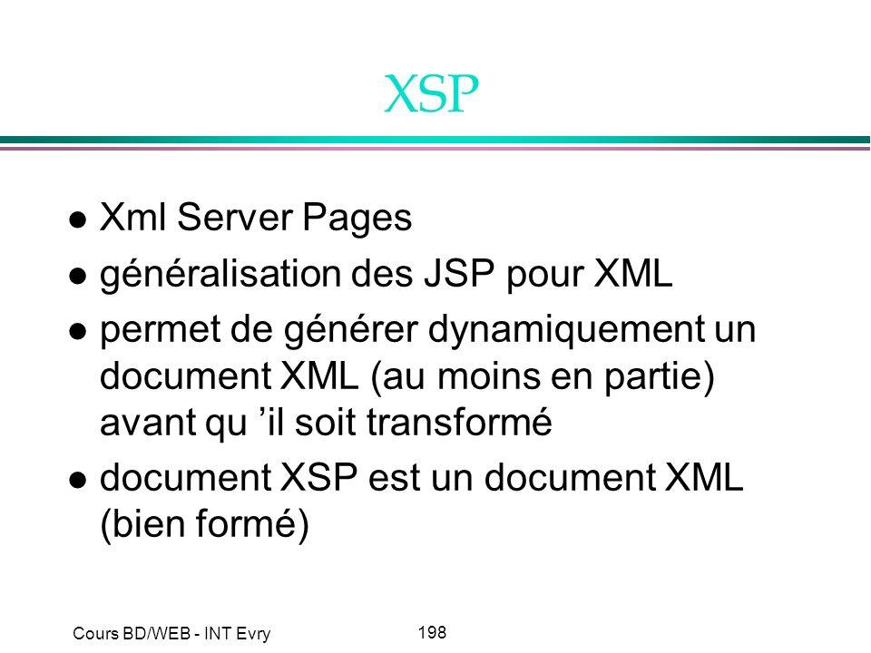 198 Cours BD/WEB - INT Evry XSP l Xml Server Pages l généralisation des JSP pour XML l permet de générer dynamiquement un document XML (au moins en pa