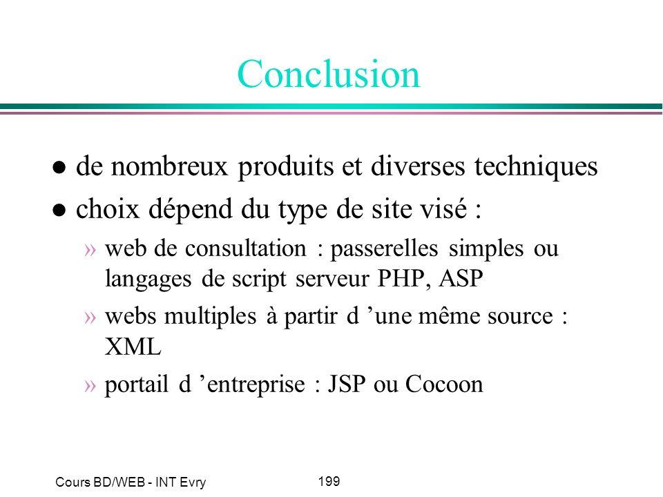 199 Cours BD/WEB - INT Evry Conclusion l de nombreux produits et diverses techniques l choix dépend du type de site visé : »web de consultation : pass