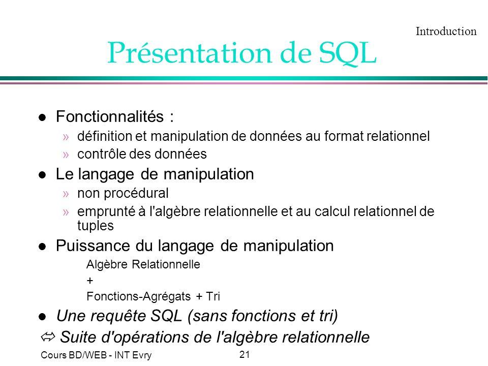 21 Cours BD/WEB - INT Evry Présentation de SQL l Fonctionnalités : »définition et manipulation de données au format relationnel »contrôle des données