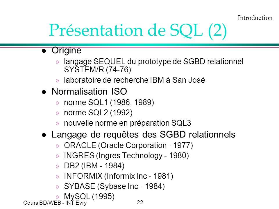 22 Cours BD/WEB - INT Evry Présentation de SQL (2) l Origine »langage SEQUEL du prototype de SGBD relationnel SYSTEM/R (74-76) »laboratoire de recherc