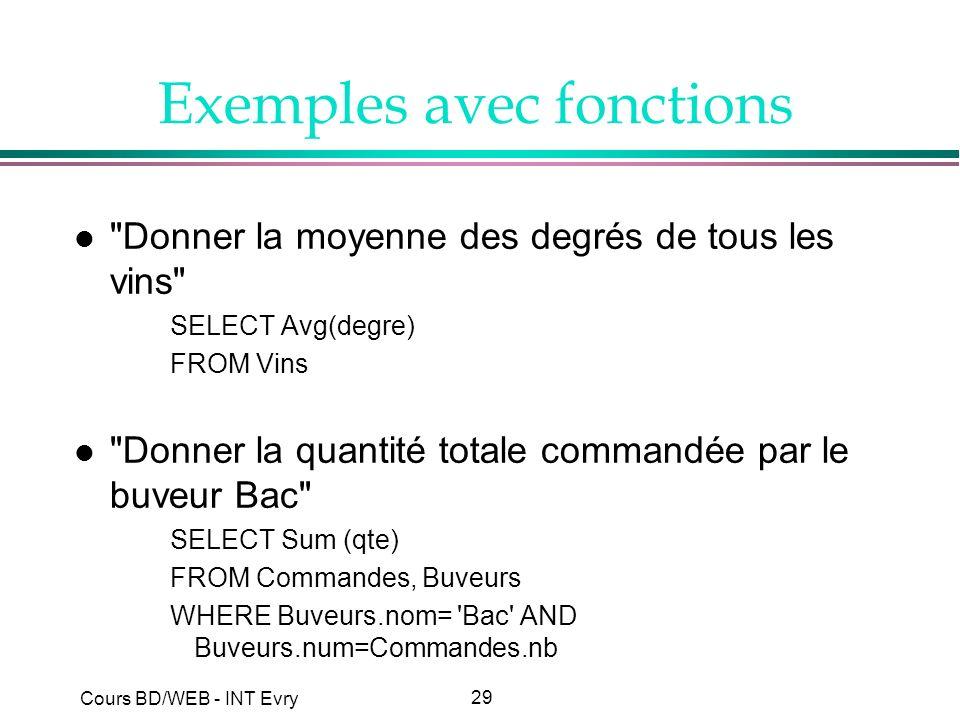 29 Cours BD/WEB - INT Evry Exemples avec fonctions l