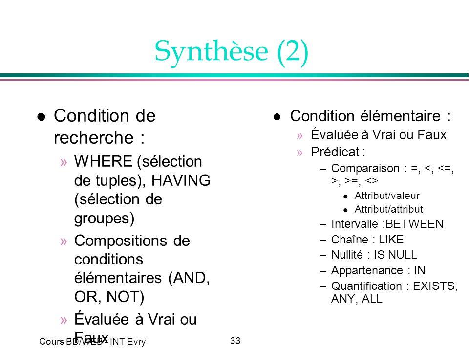 33 Cours BD/WEB - INT Evry Synthèse (2) l Condition de recherche : »WHERE (sélection de tuples), HAVING (sélection de groupes) »Compositions de condit