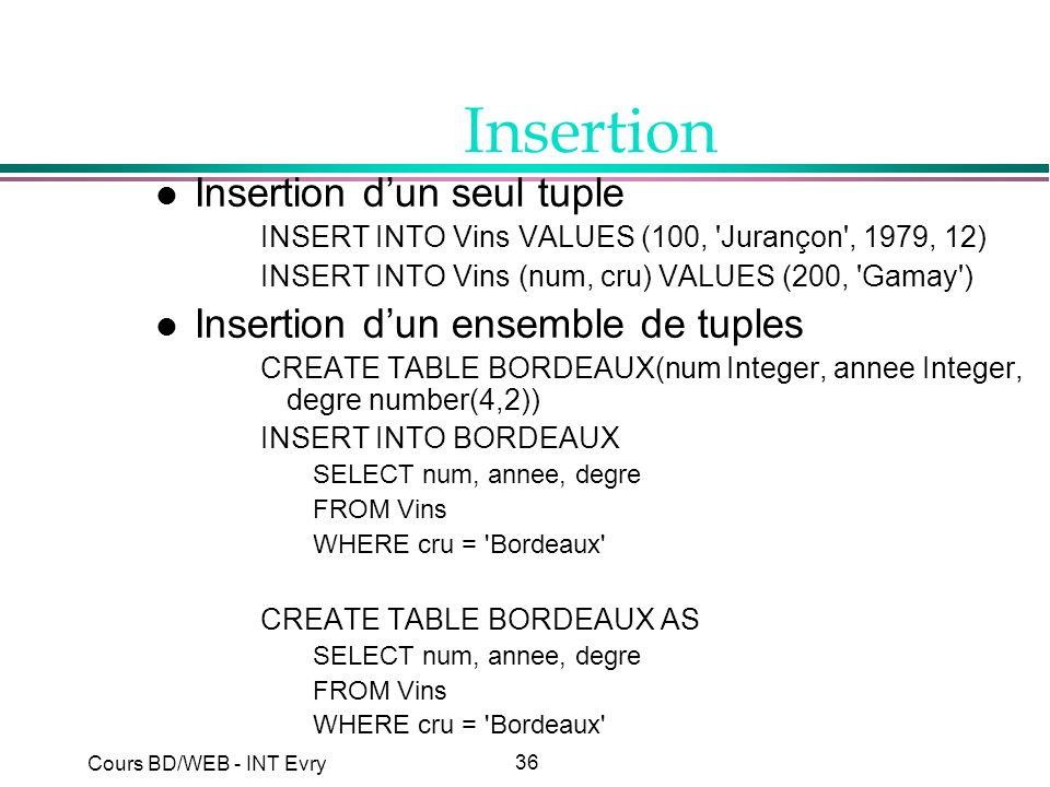36 Cours BD/WEB - INT Evry Insertion l Insertion dun seul tuple INSERT INTO Vins VALUES (100, 'Jurançon', 1979, 12) INSERT INTO Vins (num, cru) VALUES