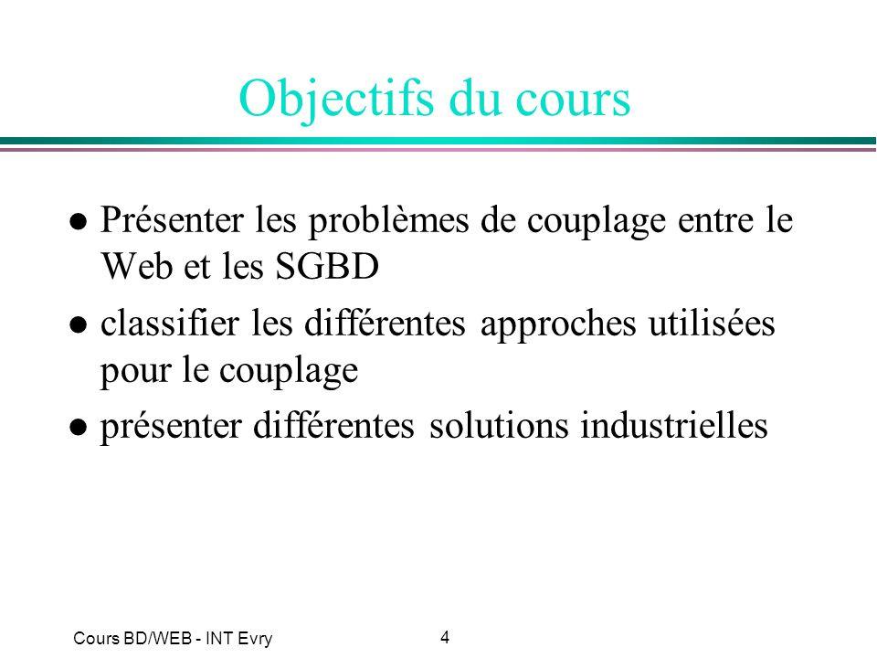 4 Cours BD/WEB - INT Evry Objectifs du cours l Présenter les problèmes de couplage entre le Web et les SGBD l classifier les différentes approches uti