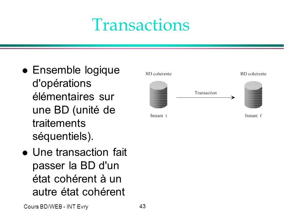 43 Cours BD/WEB - INT Evry Transactions l Ensemble logique d'opérations élémentaires sur une BD (unité de traitements séquentiels). l Une transaction