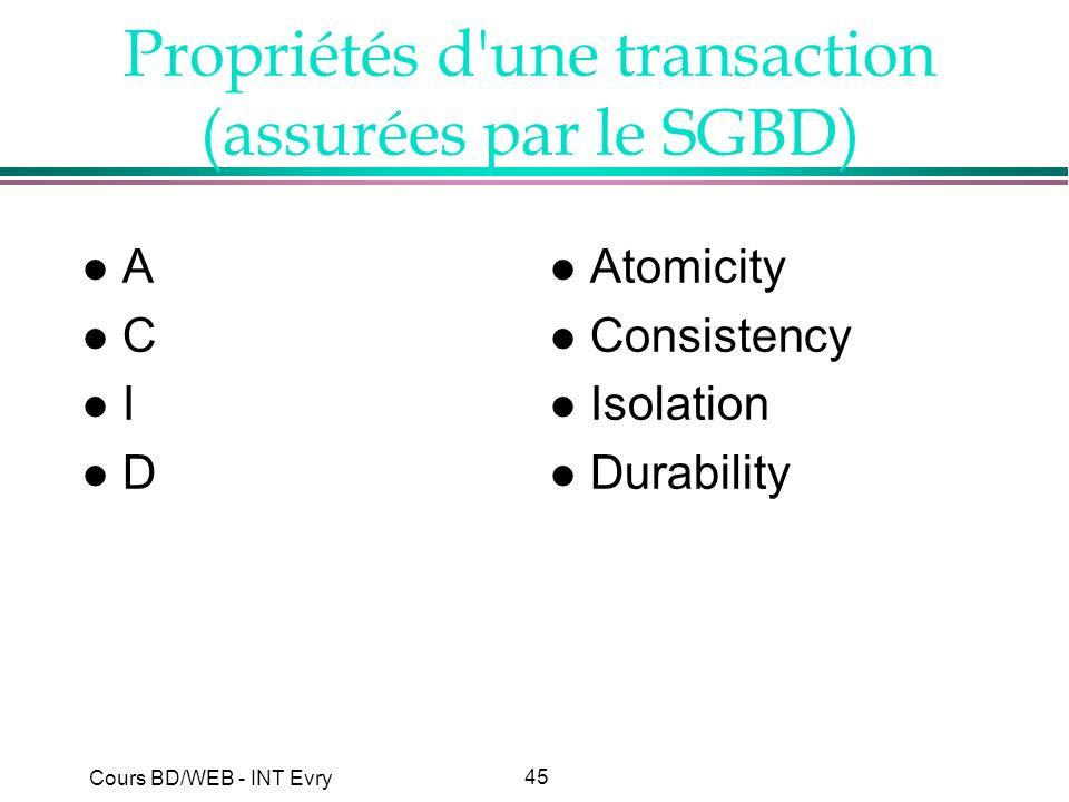 45 Cours BD/WEB - INT Evry Propriétés d'une transaction (assurées par le SGBD) lAlClIlDlAlClIlD l Atomicity l Consistency l Isolation l Durability
