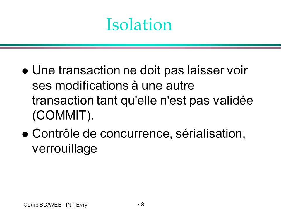 48 Cours BD/WEB - INT Evry Isolation l Une transaction ne doit pas laisser voir ses modifications à une autre transaction tant qu'elle n'est pas valid