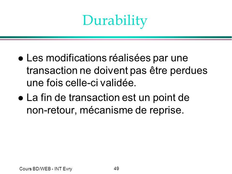 49 Cours BD/WEB - INT Evry Durability l Les modifications réalisées par une transaction ne doivent pas être perdues une fois celle-ci validée. l La fi