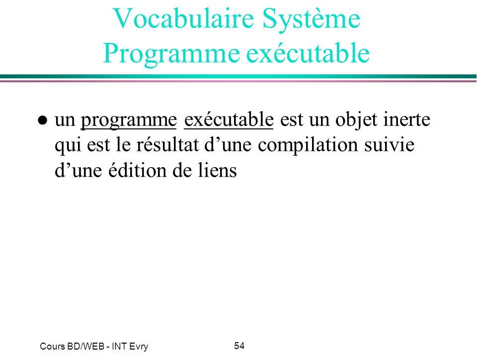 54 Cours BD/WEB - INT Evry Vocabulaire Système Programme exécutable l un programme exécutable est un objet inerte qui est le résultat dune compilation