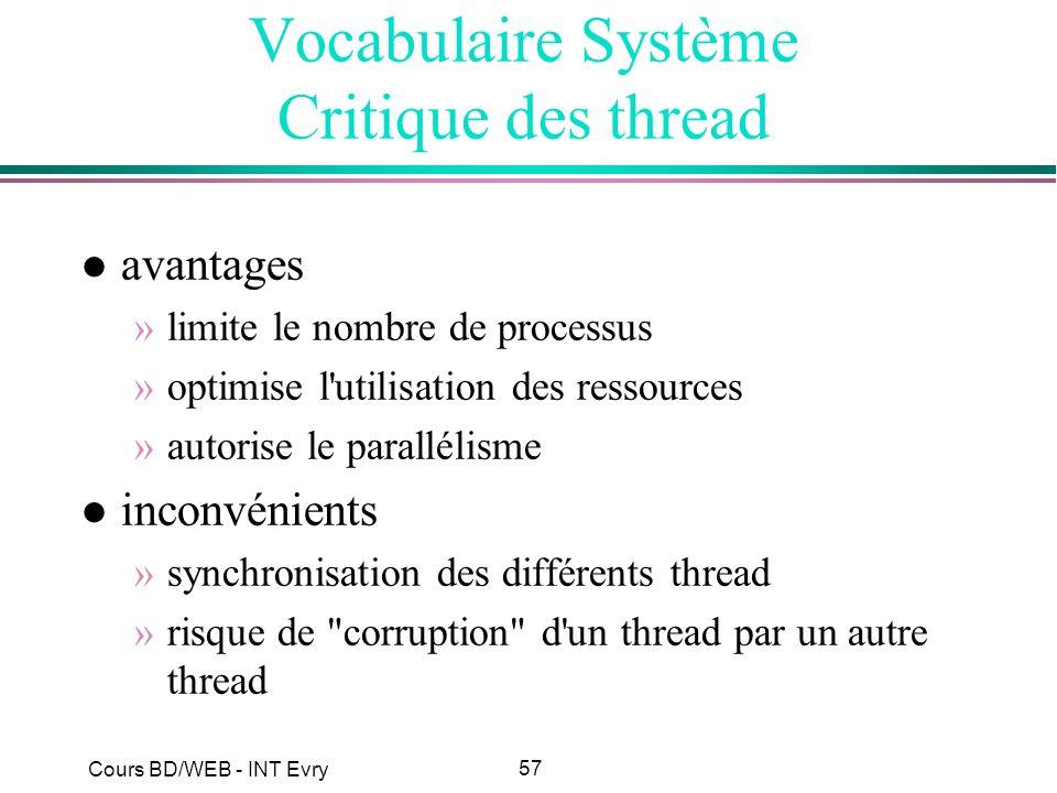 57 Cours BD/WEB - INT Evry Vocabulaire Système Critique des thread l avantages »limite le nombre de processus »optimise l'utilisation des ressources »