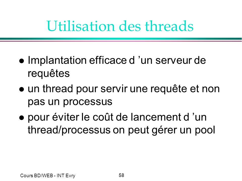58 Cours BD/WEB - INT Evry Utilisation des threads l Implantation efficace d un serveur de requêtes l un thread pour servir une requête et non pas un