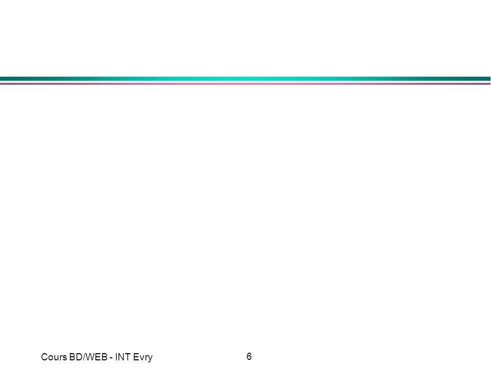 157 Cours BD/WEB - INT Evry Execution d une requête (2/2) l Execution de la requête : String myQuery = SELECT nom, adresse + FROM client + WHERE (nom=L% ) + ORDER BY nom ; ResultSet rs = stmt.executeQuery(myQuery);