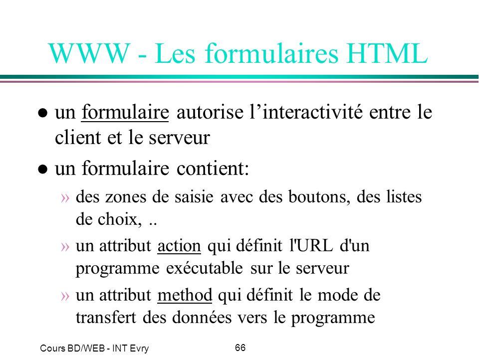 66 Cours BD/WEB - INT Evry WWW - Les formulaires HTML l un formulaire autorise linteractivité entre le client et le serveur l un formulaire contient: