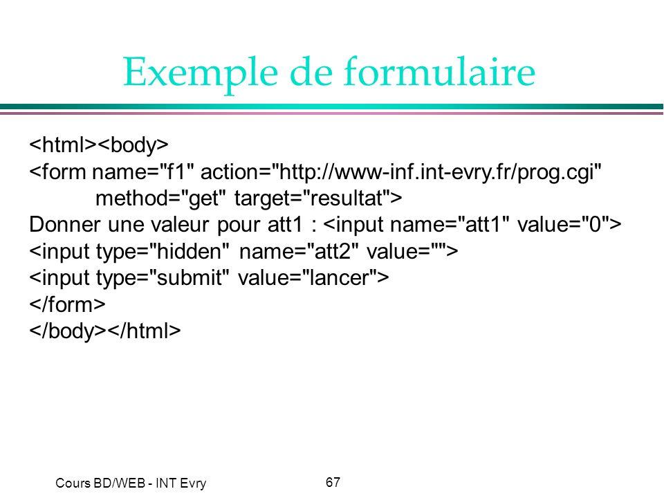 67 Cours BD/WEB - INT Evry Exemple de formulaire <form name=