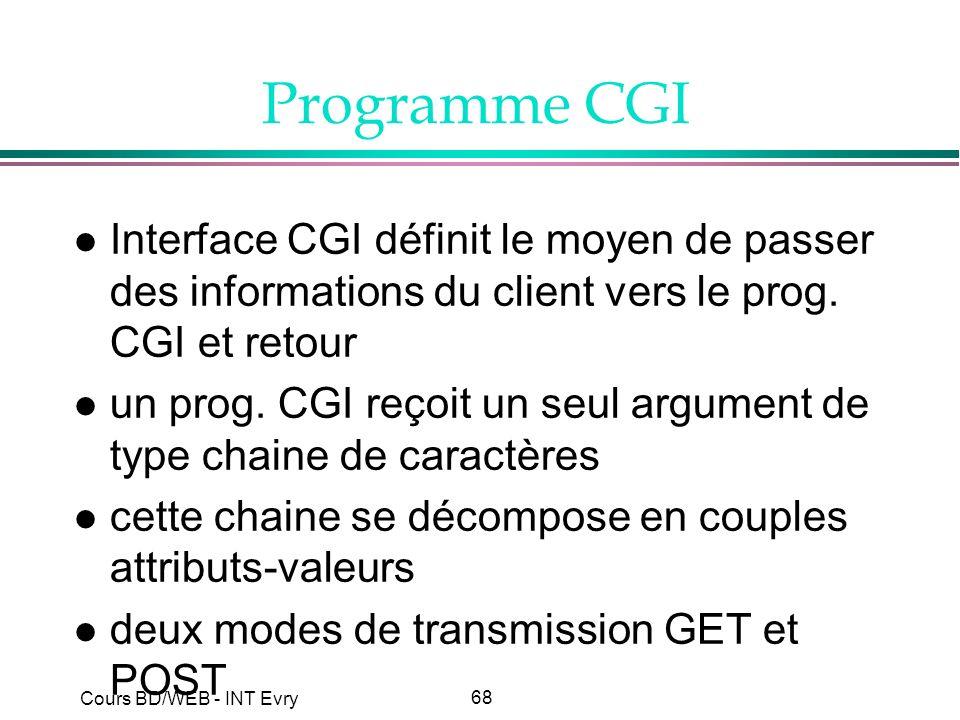 68 Cours BD/WEB - INT Evry Programme CGI l Interface CGI définit le moyen de passer des informations du client vers le prog. CGI et retour l un prog.