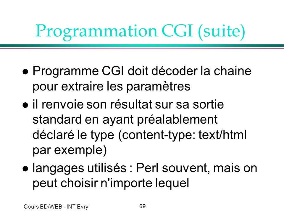69 Cours BD/WEB - INT Evry Programmation CGI (suite) l Programme CGI doit décoder la chaine pour extraire les paramètres l il renvoie son résultat sur