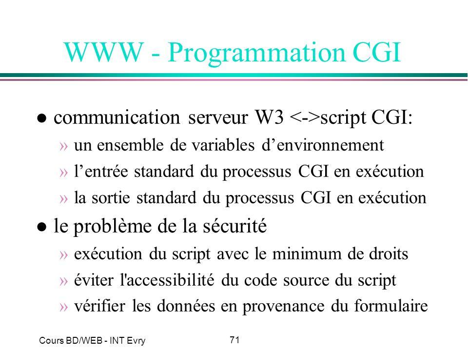 71 Cours BD/WEB - INT Evry WWW - Programmation CGI l communication serveur W3 script CGI: »un ensemble de variables denvironnement »lentrée standard d