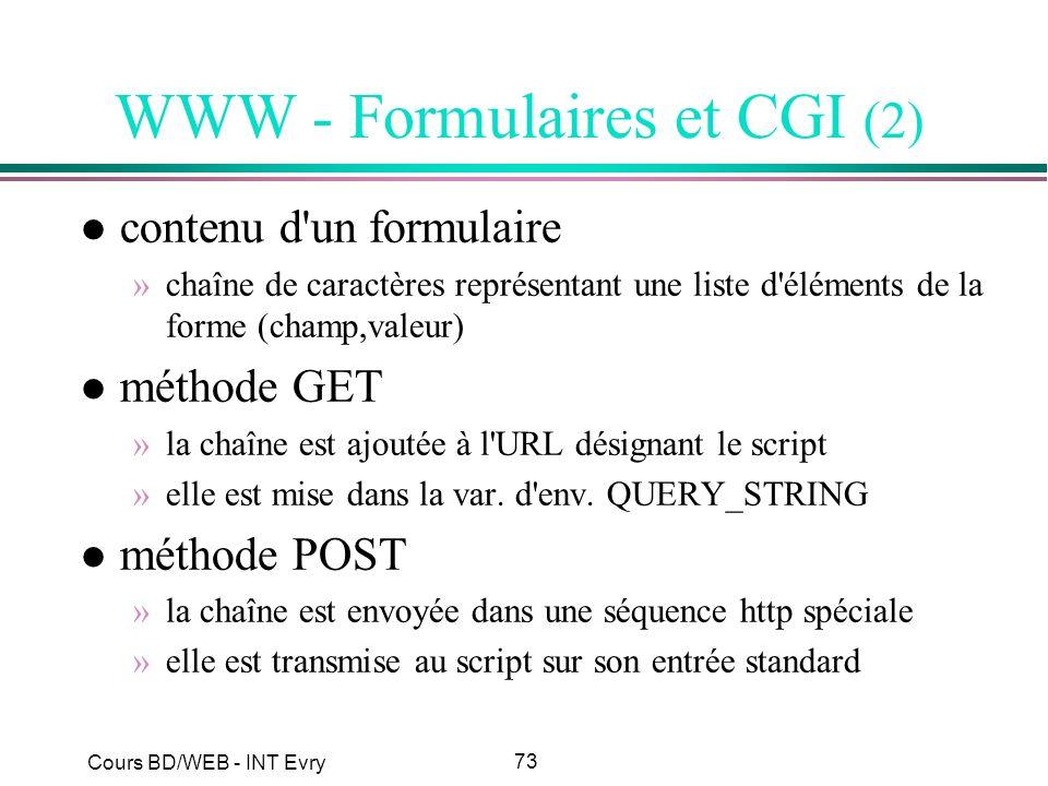 73 Cours BD/WEB - INT Evry WWW - Formulaires et CGI (2) l contenu d'un formulaire »chaîne de caractères représentant une liste d'éléments de la forme