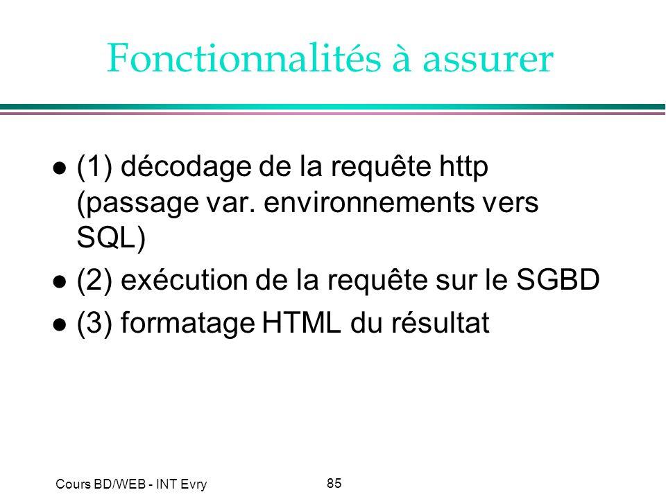 85 Cours BD/WEB - INT Evry Fonctionnalités à assurer l (1) décodage de la requête http (passage var. environnements vers SQL) l (2) exécution de la re