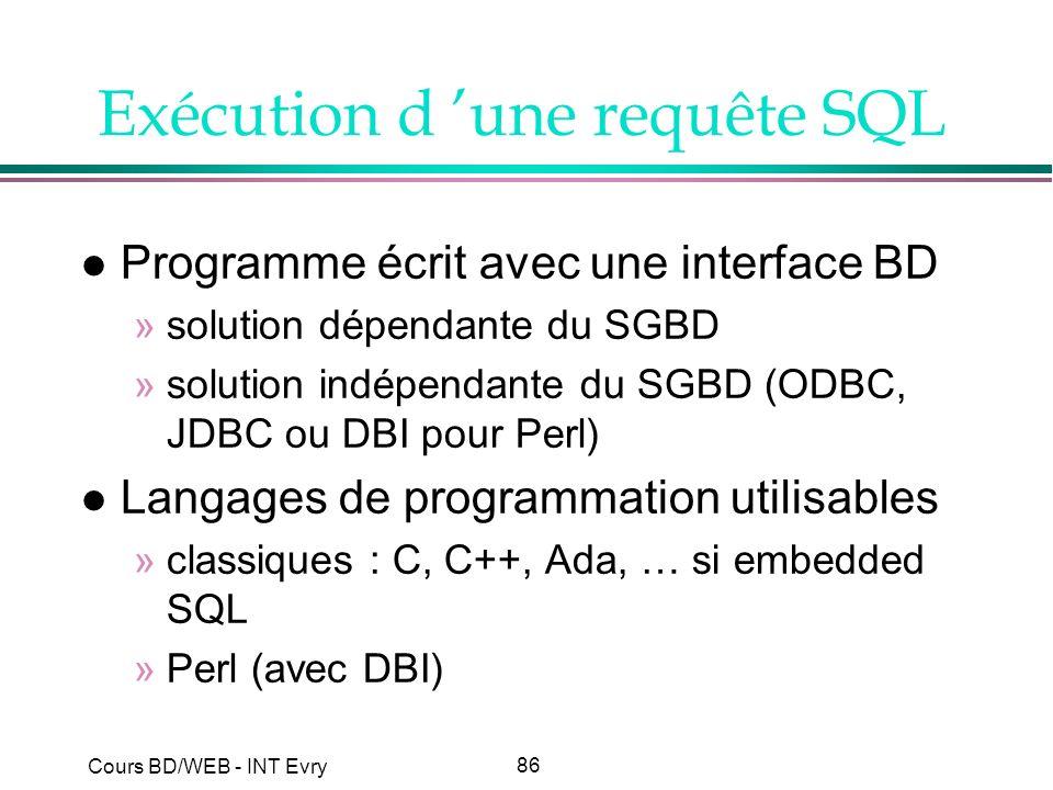 86 Cours BD/WEB - INT Evry Exécution d une requête SQL l Programme écrit avec une interface BD »solution dépendante du SGBD »solution indépendante du