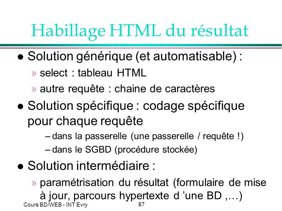 87 Cours BD/WEB - INT Evry Habillage HTML du résultat l Solution générique (et automatisable) : »select : tableau HTML »autre requête : chaine de cara