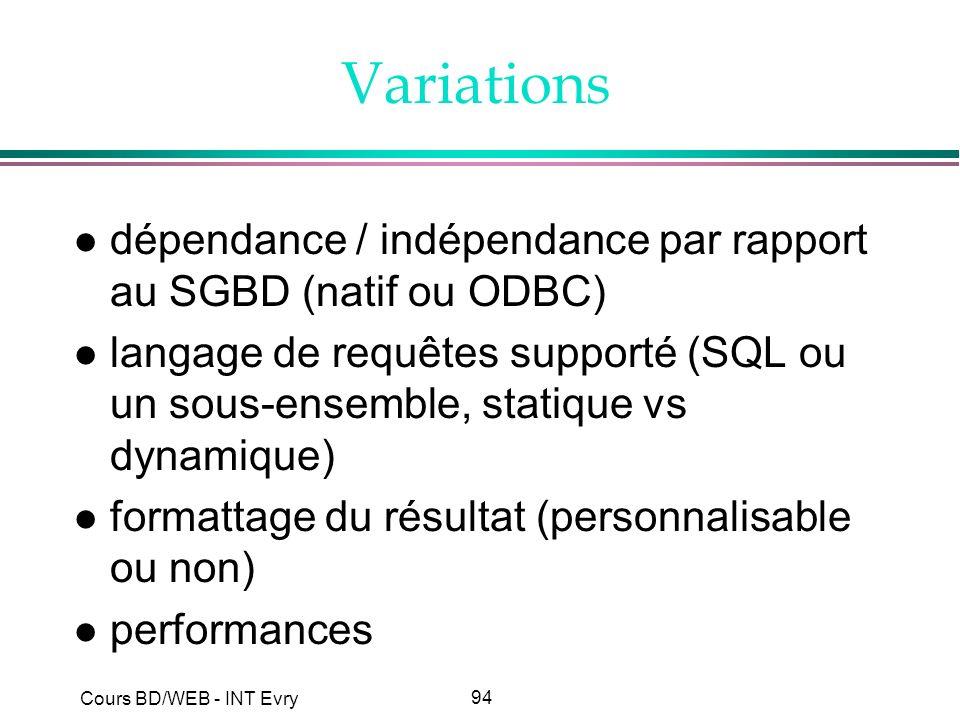 94 Cours BD/WEB - INT Evry Variations l dépendance / indépendance par rapport au SGBD (natif ou ODBC) l langage de requêtes supporté (SQL ou un sous-e
