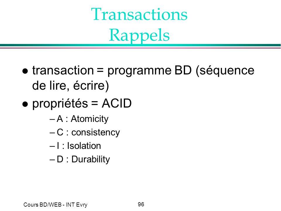 96 Cours BD/WEB - INT Evry Transactions Rappels l transaction = programme BD (séquence de lire, écrire) l propriétés = ACID –A : Atomicity –C : consis