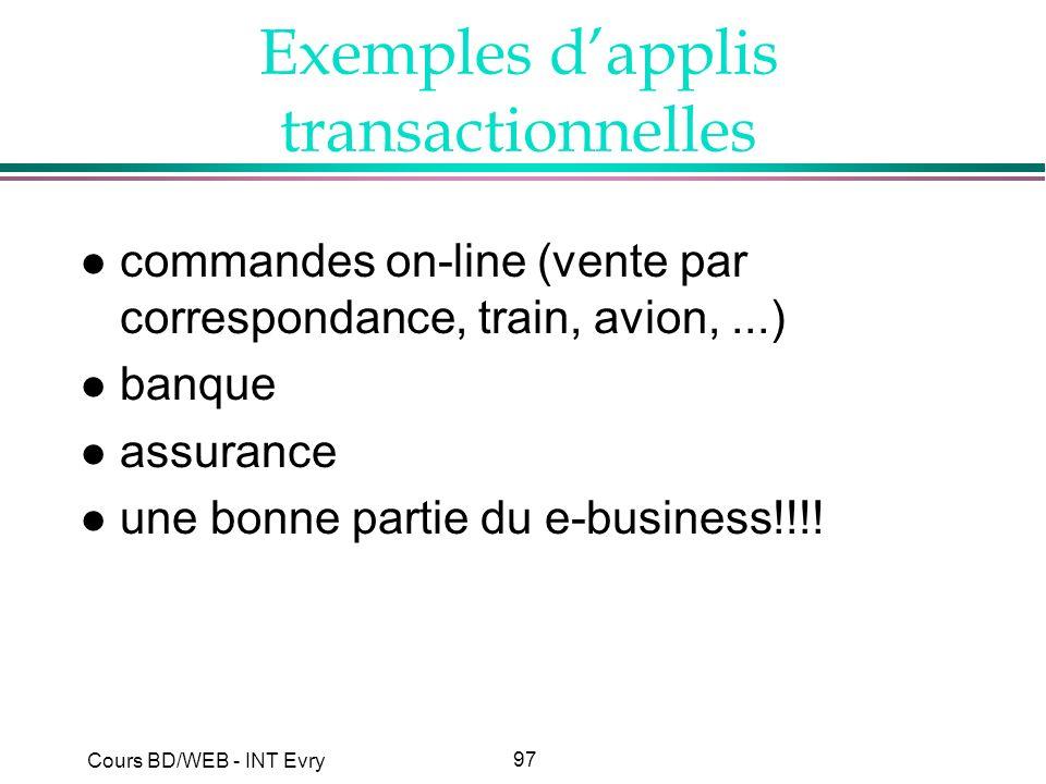 97 Cours BD/WEB - INT Evry Exemples dapplis transactionnelles l commandes on-line (vente par correspondance, train, avion,...) l banque l assurance l