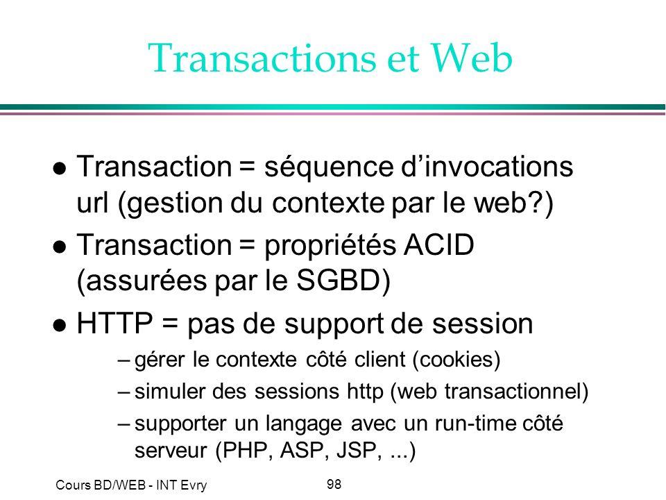 98 Cours BD/WEB - INT Evry Transactions et Web l Transaction = séquence dinvocations url (gestion du contexte par le web?) l Transaction = propriétés
