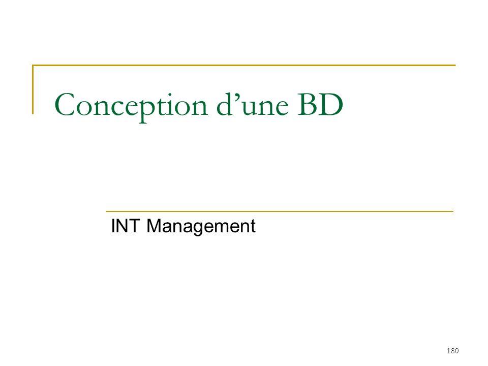 180 Conception dune BD INT Management