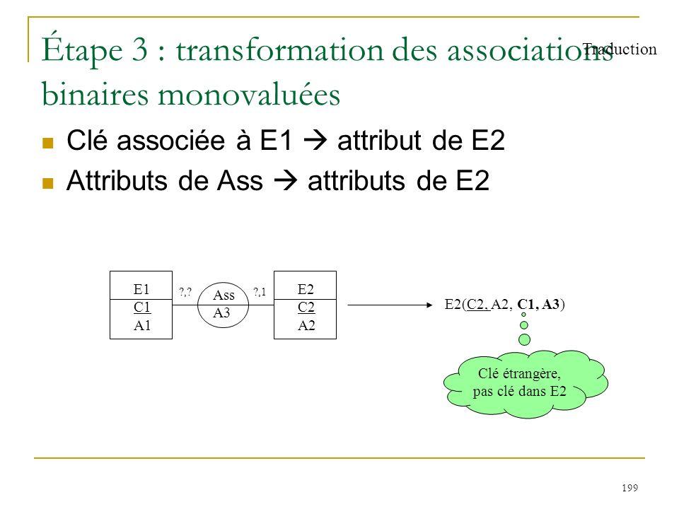 199 Étape 3 : transformation des associations binaires monovaluées Clé associée à E1 attribut de E2 Attributs de Ass attributs de E2 Traduction E1 C1