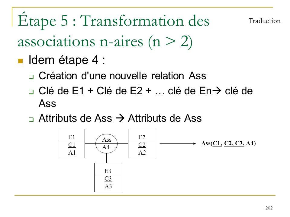 202 Étape 5 : Transformation des associations n-aires (n > 2) Idem étape 4 : Création d'une nouvelle relation Ass Clé de E1 + Clé de E2 + … clé de En