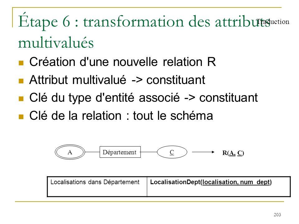 203 Étape 6 : transformation des attributs multivalués Création d'une nouvelle relation R Attribut multivalué -> constituant Clé du type d'entité asso