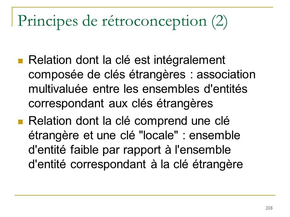 208 Principes de rétroconception (2) Relation dont la clé est intégralement composée de clés étrangères : association multivaluée entre les ensembles