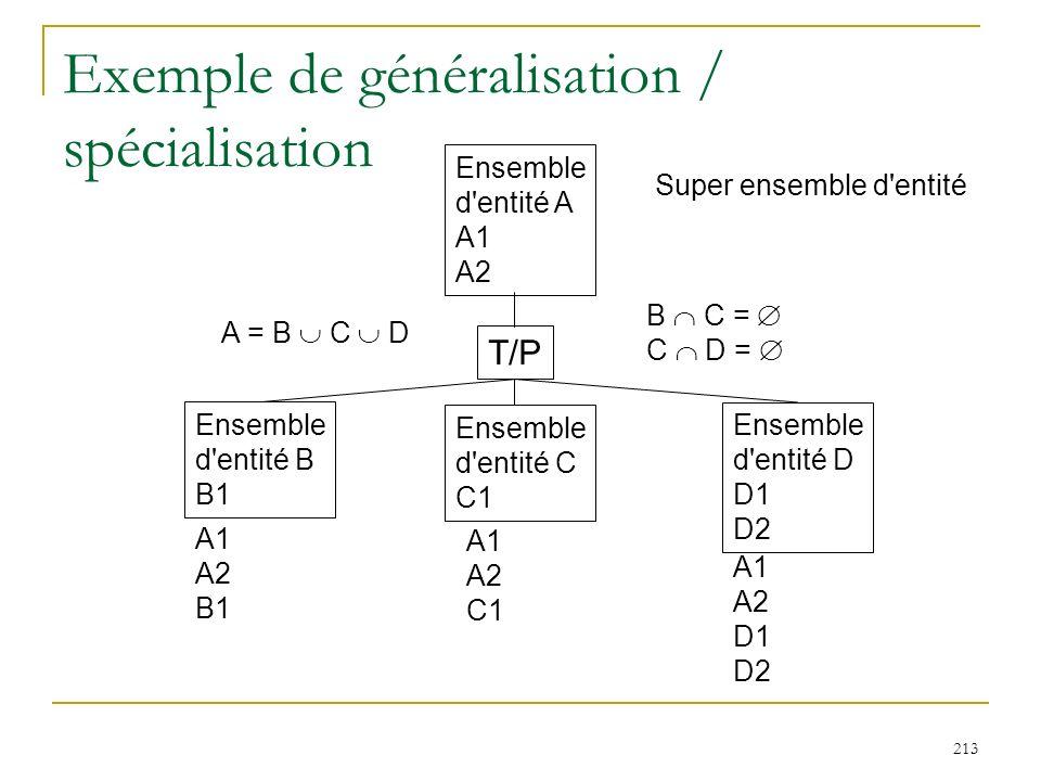 213 Exemple de généralisation / spécialisation Ensemble d'entité A A1 A2 Ensemble d'entité B B1 Ensemble d'entité C C1 Ensemble d'entité D D1 D2 Super