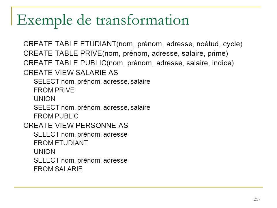 217 Exemple de transformation CREATE TABLE ETUDIANT(nom, prénom, adresse, noétud, cycle) CREATE TABLE PRIVE(nom, prénom, adresse, salaire, prime) CREA