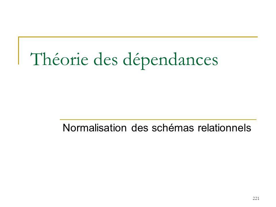 221 Théorie des dépendances Normalisation des schémas relationnels
