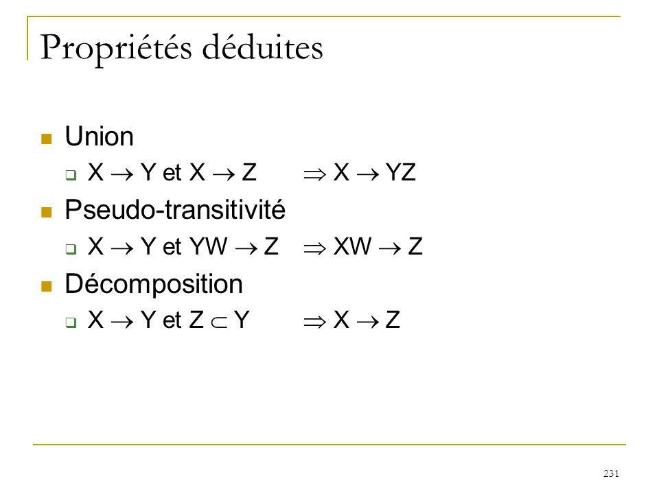 231 Propriétés déduites Union X Y et X Z X YZ Pseudo-transitivité X Y et YW Z XW Z Décomposition X Y et Z Y X Z