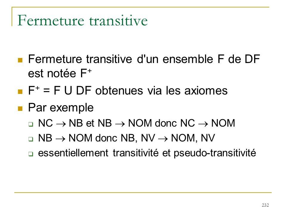 232 Fermeture transitive Fermeture transitive d'un ensemble F de DF est notée F + F + = F U DF obtenues via les axiomes Par exemple NC NB et NB NOM do
