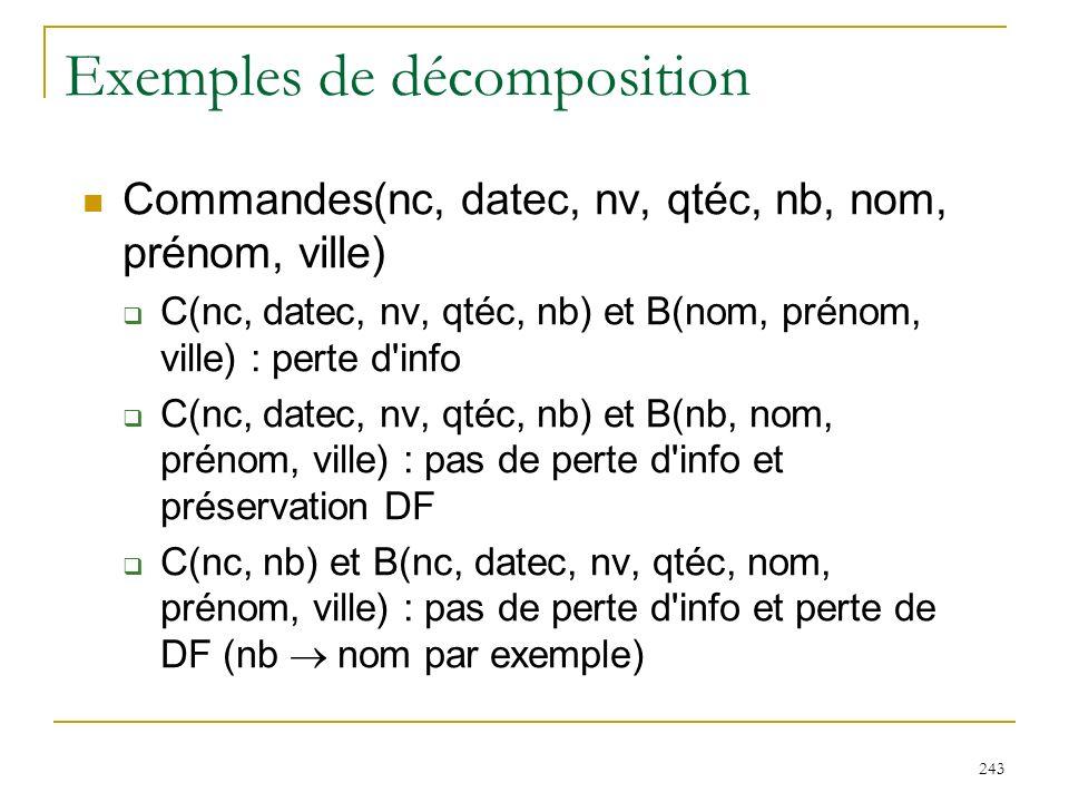 243 Exemples de décomposition Commandes(nc, datec, nv, qtéc, nb, nom, prénom, ville) C(nc, datec, nv, qtéc, nb) et B(nom, prénom, ville) : perte d'inf