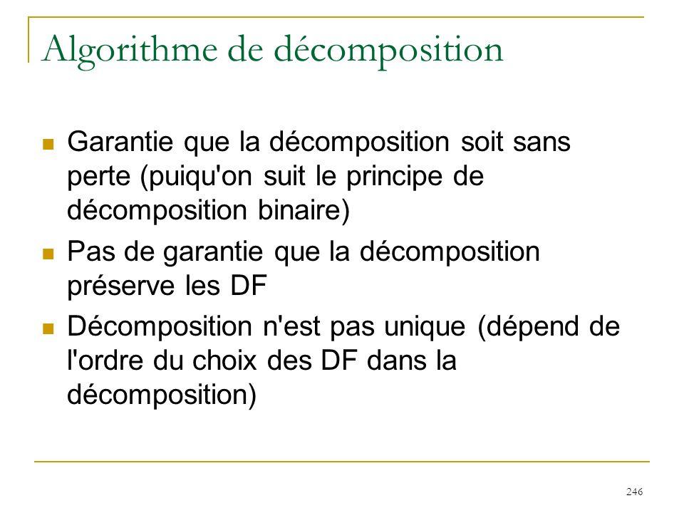 246 Algorithme de décomposition Garantie que la décomposition soit sans perte (puiqu'on suit le principe de décomposition binaire) Pas de garantie que