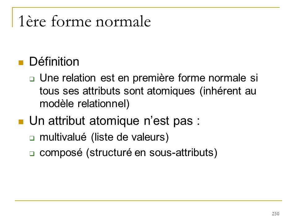 250 1ère forme normale Définition Une relation est en première forme normale si tous ses attributs sont atomiques (inhérent au modèle relationnel) Un