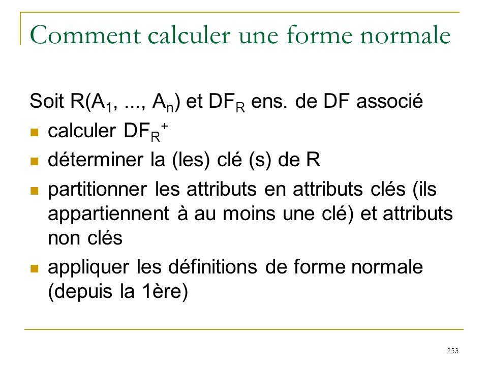 253 Comment calculer une forme normale Soit R(A 1,..., A n ) et DF R ens. de DF associé calculer DF R + déterminer la (les) clé (s) de R partitionner