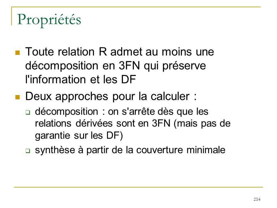254 Propriétés Toute relation R admet au moins une décomposition en 3FN qui préserve l'information et les DF Deux approches pour la calculer : décompo