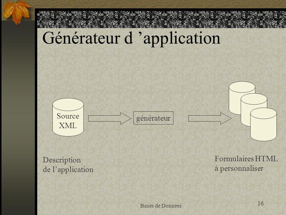 16 Bases de Données Générateur d application générateur Source XML Description de lapplication Formulaires HTML à personnaliser