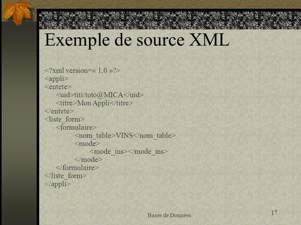 17 Bases de Données Exemple de source XML titi/toto@MICA Mon Appli VINS
