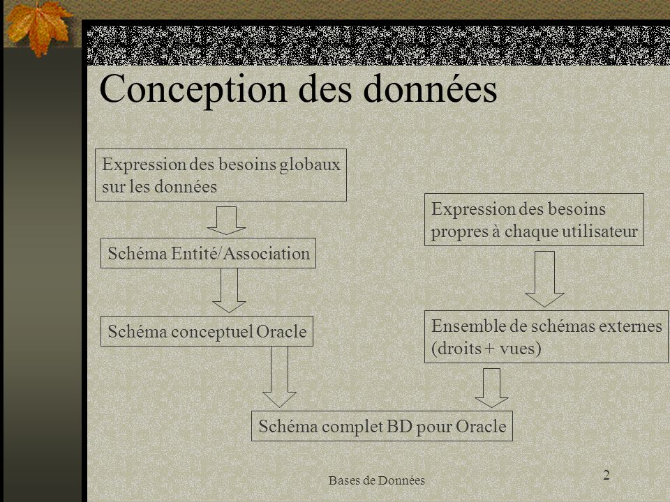 2 Bases de Données Conception des données Expression des besoins globaux sur les données Schéma Entité/Association Schéma conceptuel Oracle Schéma com