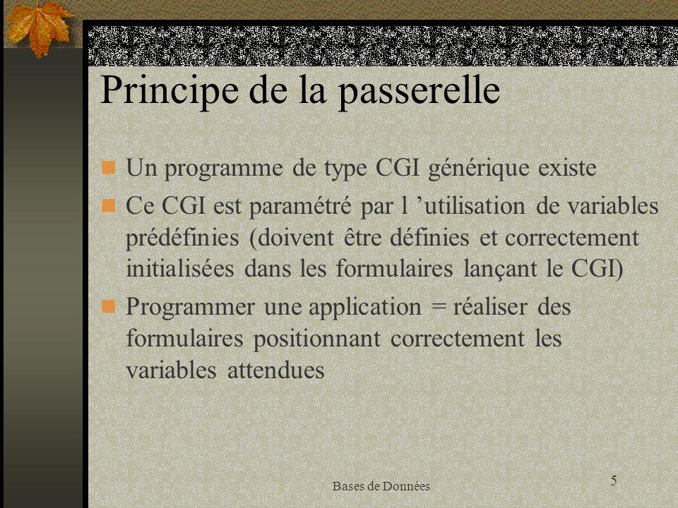 5 Bases de Données Principe de la passerelle Un programme de type CGI générique existe Ce CGI est paramétré par l utilisation de variables prédéfinies