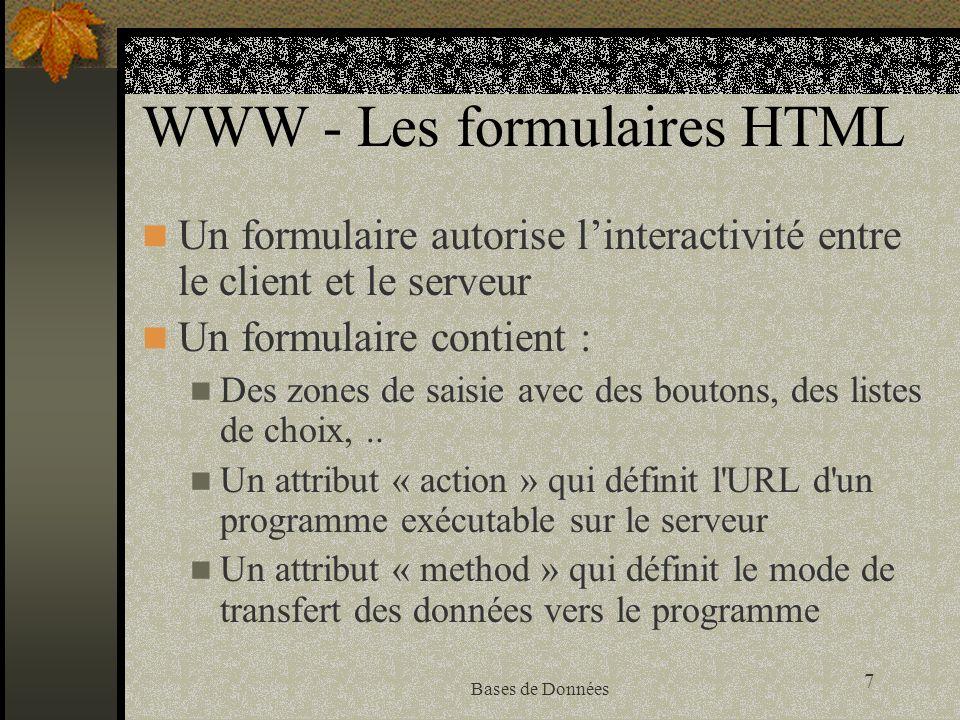 7 Bases de Données WWW - Les formulaires HTML Un formulaire autorise linteractivité entre le client et le serveur Un formulaire contient : Des zones d